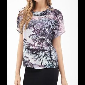 Forever 21 Funnel-neck Tree Print Top